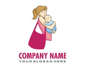 mother and baby logo image vector