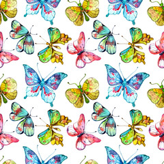 Seamless watercolor background with butterfly