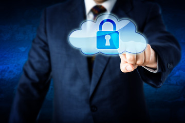 Business Man In Suit Touching Locked Cloud Icon