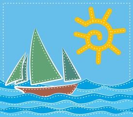 Sea landscape with a sailing vessel.