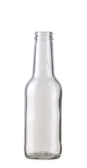 Empty transparent beer bottle isolated on the white