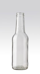 Empty transparent beer bottle