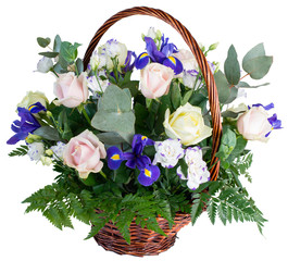 Basket of flowers roses and irises