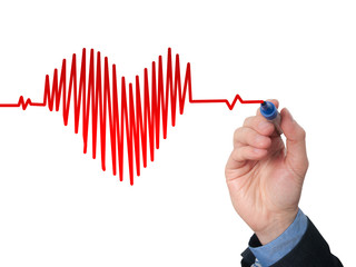 Businessman hand drawing chart heartbeat