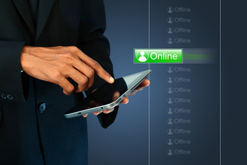 Business man with online button