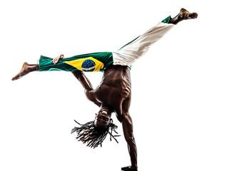 Brazilian  black man dancer dancing capoeira  silhouette