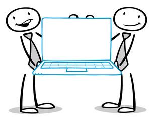 Geschäftsleute halten Computer mit Monitor
