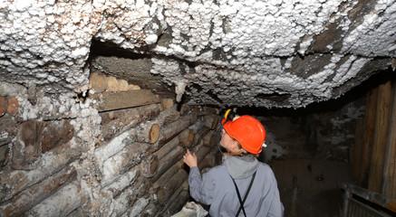 Miner in salt mine