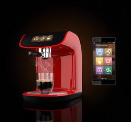 Espresso coffee machine and smart phone