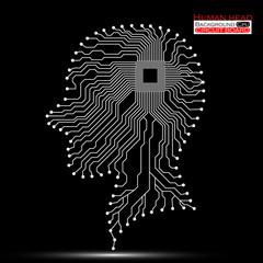 Human head. Cpu. Circuit board. Vector illustration. Eps 10
