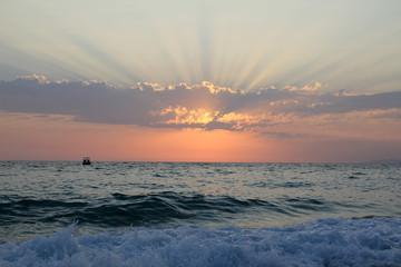 Sunset sky under the sea
