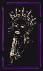 Tarot cards - back design, Woman Shaman