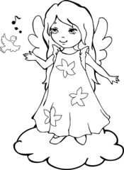 Cute Angel cartoon for coloring