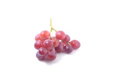 Fresh bunch of red grapes Isolated on white background.