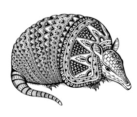 Vector illustration of a totem animal - armadillo - in graphic b