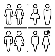 Restroom outline silhouettes icon set
