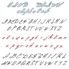 Hand drawn font. Handwriting doodle alphabet