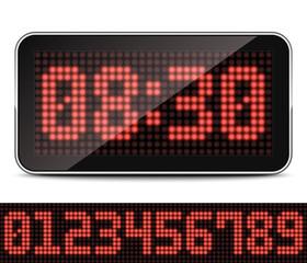 Digital LED Clock, Vector Illustration