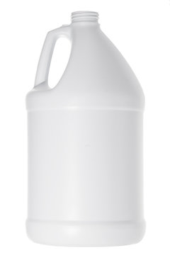 White plastic gallon jug isolated