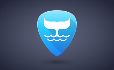 Blue guitar pick icon with a whale tail