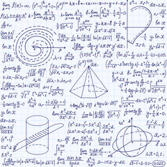 Mathematical vector seamless with geometrical figures, formulas