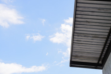 roof of sheet metal and blue sky