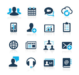 Icons set for Business technology network Azure Series