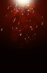Music Notes Red Bright Background