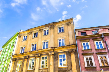 The old, historical tenement flats in Krakow, Poland