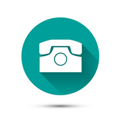 White phone icon on green background with shadow