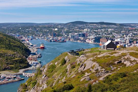 Saint Johns downtown harbour Signal Hill NL Canada