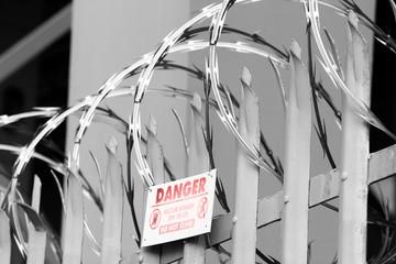 Razor wire on fence