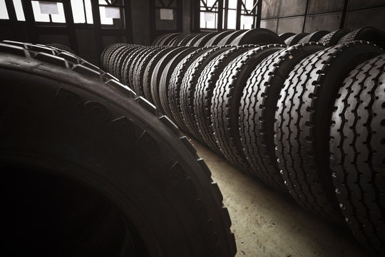 large tires of a bus garage