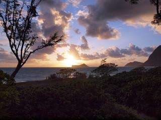 Early Morning Sunrise on Waimanalo Beach over Rabbit Island burs