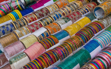 Beautiful Bangles on display in a south asian market.