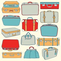 Векторная Коллекция винтажных чемоданов