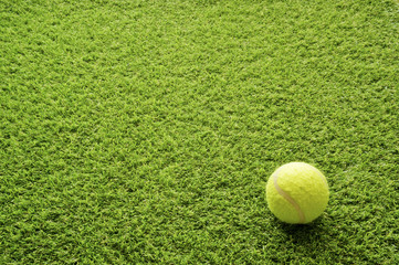 Tennis ball on the lawn