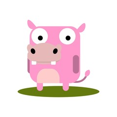Cute Hippo with large eyes cartoon