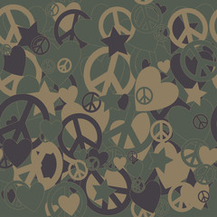 Military Camouflage Love and Peace sign