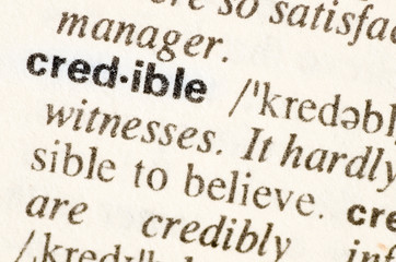 Dictionary definition of word credible