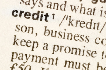 Dictionary definition of word credit