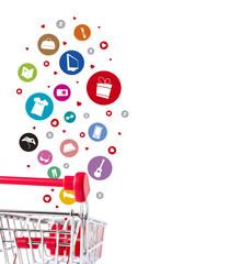 Shopping cart with icon fashion design on white background