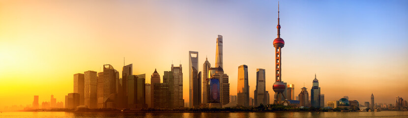 Spoed Fotobehang China Pudong panorama at sunrise, Shanghai, China