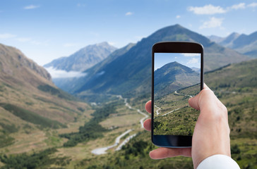 Person Hand Photographing Landscape