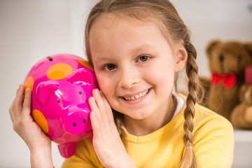 Girl with moneybox