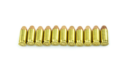 group of 11mm bullets isolated on a white background.