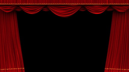 0:11 High Detail Red Velvet Theater Curtain Opening With Alpha Matte.