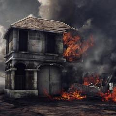 Obraz Samotnie stojący budynek w ogniu - fototapety do salonu