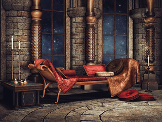 Zamkowa komnata z sofą i świecami