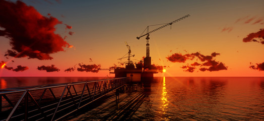 Offshore oil and rig platform in sunset time. Construction of production process in the sea. Power energy of the world..3d render Wall mural